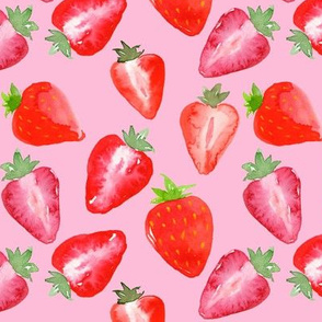 Strawberries Red Watercolour on pink