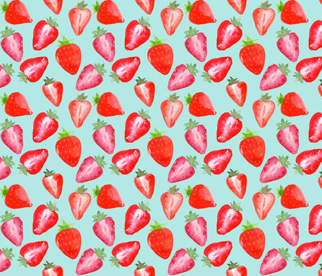 Strawberries Red Watercolour on mint fabric by sylviaoh on Spoonflower - custom fabric