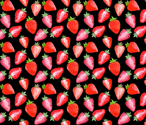 Strawberries Red Watercolour on black fabric by sylviaoh on Spoonflower - custom fabric