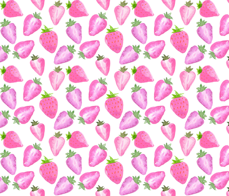 Strawberries pink Watercolour on white fabric by sylviaoh on Spoonflower - custom fabric