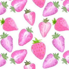 Strawberries pink Watercolour on white