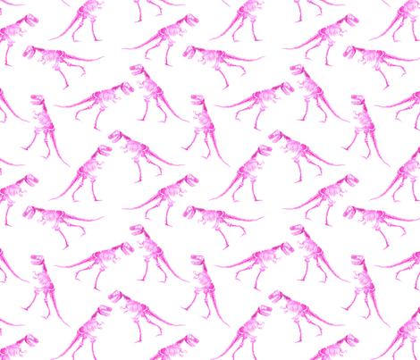 T-Rex watercolour pink (medium) fabric by sylviaoh on Spoonflower - custom fabric