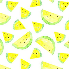 Watermelon yellow on white