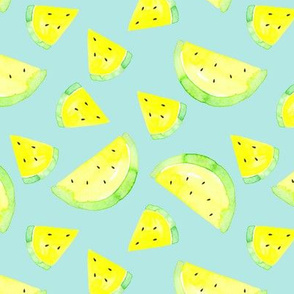 Watermelon yellow on mint