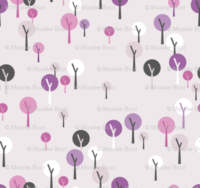 Soft tree forest basic trees for princess and castle design in lilac pink
