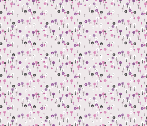 Soft tree forest basic trees for princess and castle design in lilac pink fabric by littlesmilemakers on Spoonflower - custom fabric