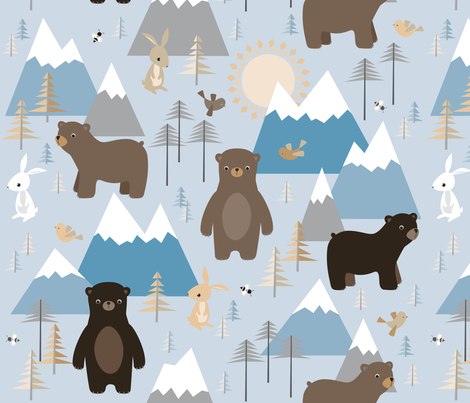 bears in mountains fabric by heleenvanbuul on Spoonflower - custom fabric