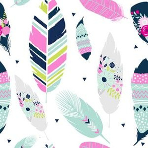 Spring Feathers // Blooms Coordinate Pink Aqua Navy Blue Lime Green // Baby girl nursery bedding