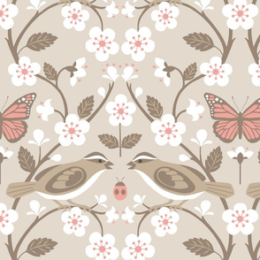 sparrow and cherry blossoms taupe and pink