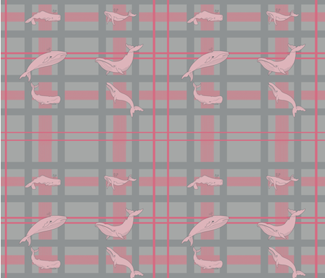 Whale Wallpaper #1 PINK and GREY fabric by donnadavis on Spoonflower - custom fabric