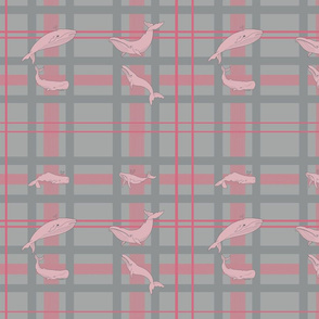 Whale Wallpaper #1 PINK and GREY