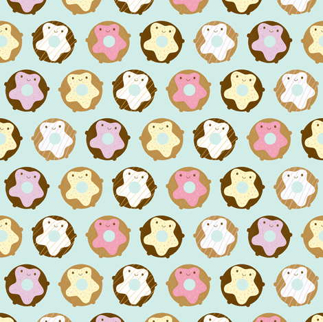 Kawaii Donuts fabric by marcelinesmith on Spoonflower - custom fabric