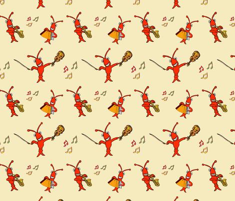 Musical Cajun Crawfish (Acadian Lobsters) Music fabric by enchanted_bayou on Spoonflower - custom fabric