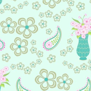 Paisley and Camellia in Teal