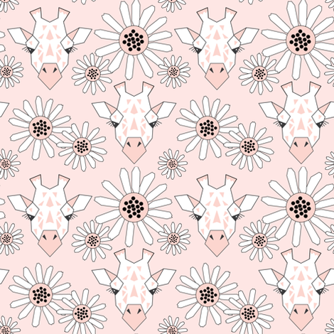 small giraffe-and-daisies-on-soft-pink fabric by lilcubby on Spoonflower - custom fabric
