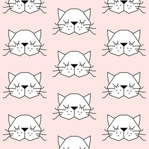 geometric kitty-face-on-soft pink