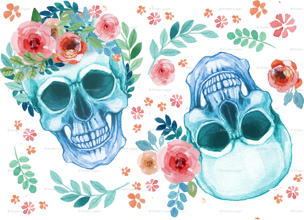 Sugar Skull Watercolor Spring Flowers fabric - khaus - Spoonflower