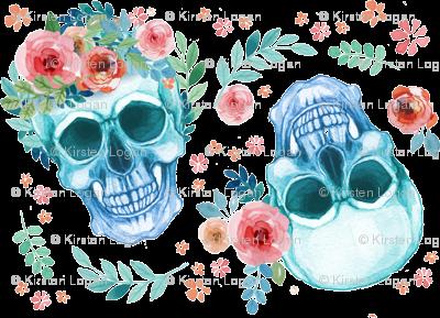 Sugar Skull Watercolor Spring Flowers Fabric Furbuddy Spoonflower