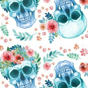 Sugar Skull Watercolor Spring Flowers