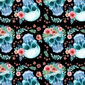 Sugar Skull Watercolor Spring Flowers Pastel Water Color