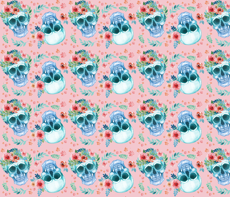 Sugar Skull Watercolor Spring Flowers Pastel Water Color Pink