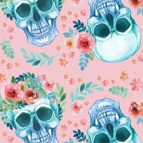 Sugar Skull Watercolor Spring Flowers Pastel Water Color Pink