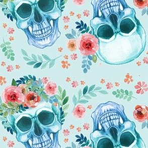 Sugar Skull Watercolor Spring Flowers Pastel Water Color Light Green