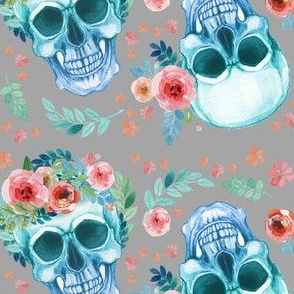 Sugar Skull Watercolor Spring Flowers Pastel Water Color Grey