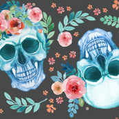 Sugar Skull Watercolor Spring Flowers Pastel Water Color Dark Grey