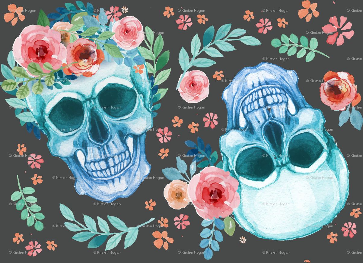 Sugar Skull Watercolor Spring Flowers Pastel Water Color Dark Grey ...