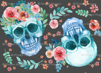 Sugar Skull Watercolor Spring Flowers Pastel Water Color Dark Grey