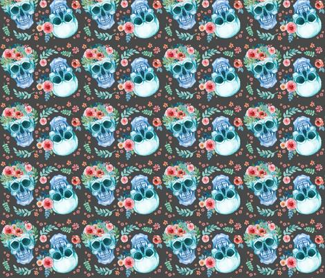 Sugar Skull Watercolor Spring Flowers Pastel Water Color Dark Grey fabric by khaus on Spoonflower - custom fabric