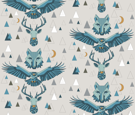 Spirits and Stars of the Mountains - Large Repeat fabric by linziloop on Spoonflower - custom fabric