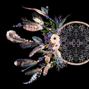 "42""x36"" Lavender Dream Catcher - In Black Background"