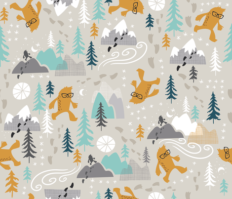 Sasquatch Stomp fabric by cynthiafrenette on Spoonflower - custom fabric