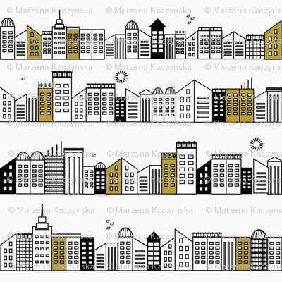 city buildings - black and white with touches of mustard