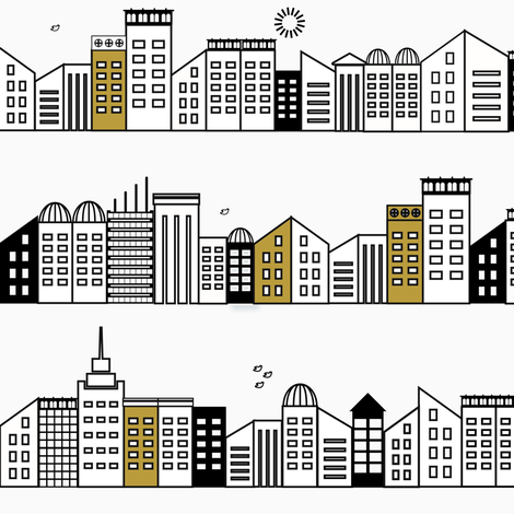 city buildings - black and white with touches of mustard fabric by sunny_afternoon on Spoonflower - custom fabric