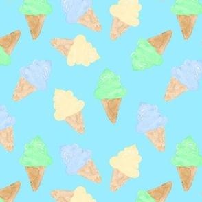 Ice Cream Cone watercolour boy on blue