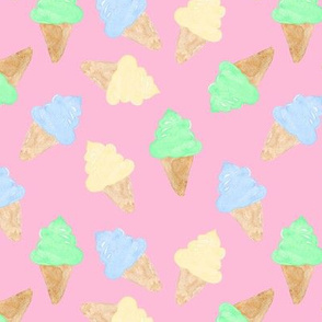 Ice Cream Cone watercolour blue green vanilla on pink