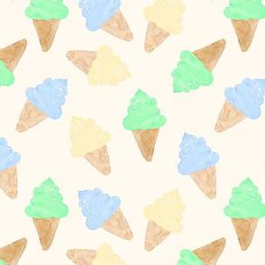 Ice Cream Cone watercolour boy on cream