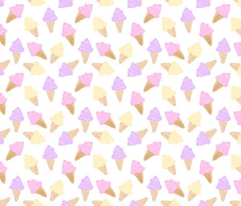 Ice Cream Cone watercolour girl on white fabric by sylviaoh on Spoonflower - custom fabric