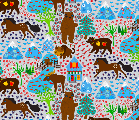 The Spotted Pony Mountain Ranch fabric by orangefancy on Spoonflower - custom fabric