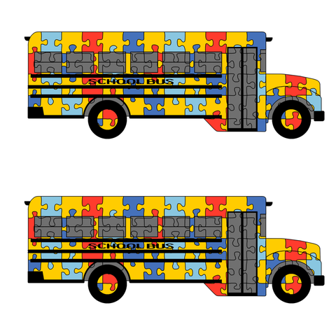 Autism Awareness school bus fabric by victorialasher on Spoonflower - custom fabric