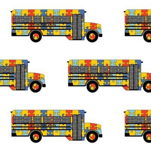 Autism Awareness school bus - small