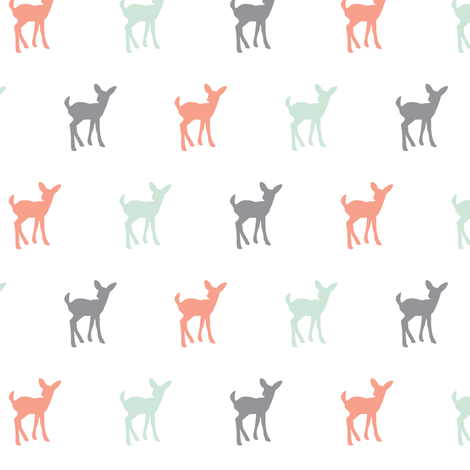 multi fawn (small scale) - coral,grey,mint fabric by littlearrowdesign on Spoonflower - custom fabric