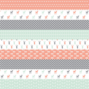 woodland strip quilt wholecloth - coral, mint,grey