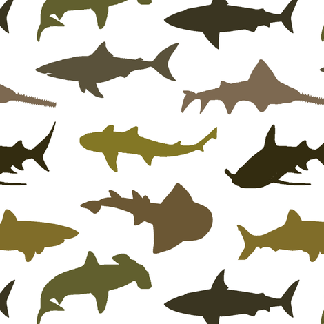 Brown Sharks fabric by thinlinetextiles on Spoonflower - custom fabric