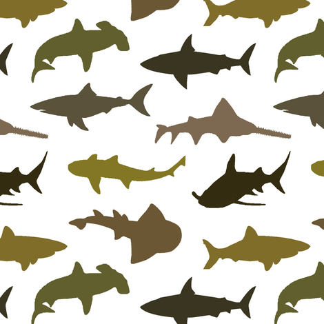 Earth-Tone Sharks // Small fabric by thinlinetextiles on Spoonflower - custom fabric