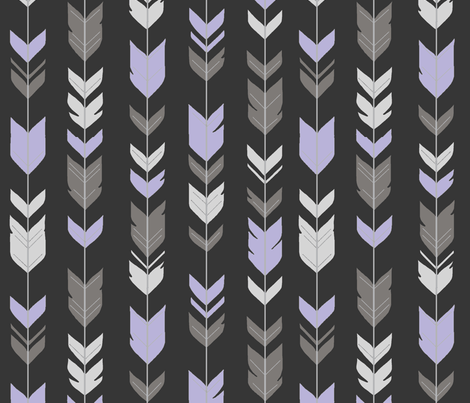 Arrow Feathers -  Black, lilac, silver fabric by sugarpinedesign on Spoonflower - custom fabric