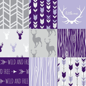 Wholecloth Patchwork Deer in purple and grey -